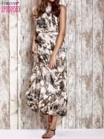Brązowa wzorzysta sukienka maxi z dżetami                                   zdj.                                  1