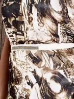 Brązowa wzorzysta sukienka maxi z dżetami                                   zdj.                                  5