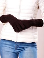 Brązowe długie rękawiczki z drapowanym rękawem                                  zdj.                                  3