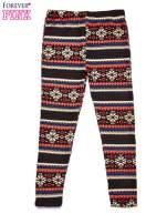 Brązowe legginsy dziewczęce z zimowym wzorkiem