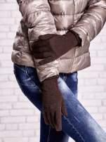 Brązowe rękawiczki z błyszczącą nicią z wywijanym mankietem                                  zdj.                                  3
