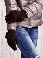 Brązowe rękawiczki z kokardką i długim ściągaczem
