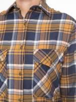 Brązowo-granatowa bawełniana dłuższa koszula w kratę                                  zdj.                                  7