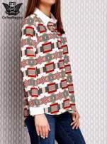 Brązowo-łososiowa wzorzysta koszula z podwijanymi rękawami                                  zdj.                                  3