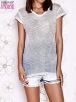 Brązowo-niebieski t-shirt z efektem ombre                                  zdj.                                  1