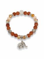 Brązowo - srebrna Bransoletka koralikowa                                                                          zdj.                                                                         1
