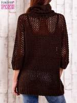 Brązowy ażurowy sweter z golfem FUNK N SOUL                                                                          zdj.                                                                         3