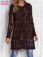 Beżowy długi sweter na guziki                                                                          zdj.                                                                         1
