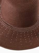 Brązowy kapelusz słomiany z dużym rondem i kryształkami                                  zdj.                                  7