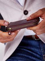 Brązowy portfel męski skórzany z pionowym tłoczeniem                                  zdj.                                  4