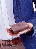 Brązowy portfel męski ze skóry naturalnej na zatrzask                                  zdj.                                  3