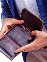 Brązowy skórzany portfel dla mężczyzny na suwak                                  zdj.                                  4