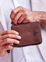 Brązowy skórzany portfel dla mężczyzny z zapięciem na suwak                                  zdj.                                  1