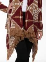 Brązowy sweter narzutka w azteckie wzory z frędzlami                                  zdj.                                  6