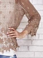 Brązowy szydełkowy sweterek z rozszerzanymi rękawami                                  zdj.                                  5