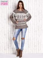 Brązowy wełniany sweter z frędzlami                                                                          zdj.                                                                         2