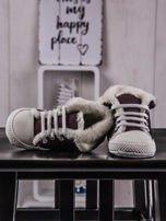 Buciki niemowlęce trampki z ociepleniem bordowe                                  zdj.                                  2