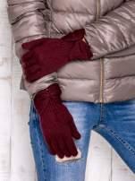 Burgundowe rękawiczki z kokardą w stylu retro                                  zdj.                                  3