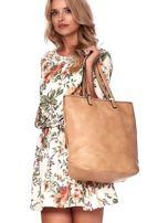 Camelowa torba w kwiaty ze wstawką crocodile skin                                  zdj.                                  6