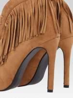 Camelowe sznurowane botki faux suede Lea open toe z frędzlami                                  zdj.                                  8