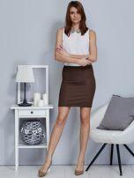 Ciemnobeżowa spódnica w delikatny strukturalny wzór                                  zdj.                                  4
