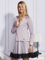 Ciemnobeżowa sukienka z tiulową spódnicą                                  zdj.                                  5