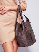 Ciemnobrązowa miękka torba z kieszeniami                                  zdj.                                  6