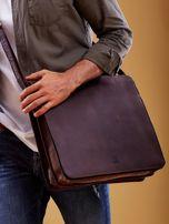 Ciemnobrązowa torba męska na ramię ze skóry naturalnej                                  zdj.                                  3