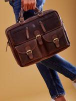 Ciemnobrązowa torba męska z odpinanym paskiem                                  zdj.                                  1