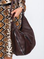 Ciemnobrązowa torba z suwakami                                  zdj.                                  3