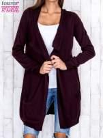 Ciemnobrązowy długi niezapinany sweter z kieszeniami                                                                          zdj.                                                                         1