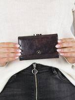 Ciemnobrązowy mały portfel skórzany na bigiel                                  zdj.                                  1