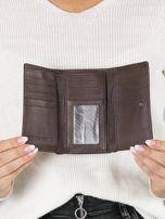 Ciemnobrązowy mały portfel skórzany na bigiel                                  zdj.                                  4