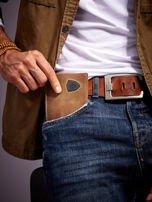 Ciemnobrązowy portfel męski ze skóry z emblematem                                   zdj.                                  1