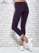 Ciemnofioletowe legginsy sportowe 7/8 z wiązaniem                                                                          zdj.                                                                         3