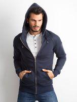 Ciemnogranatowa bawełniana bluza męska z kapturem                                  zdj.                                  5