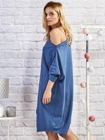 Ciemnoniebieska asymetryczna tunika z troczkami                                  zdj.                                  2