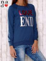 Ciemnoniebieska bluza z napisem LOVE END
