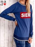 Ciemnoniebieska bluza z napisem SIEMA                                  zdj.                                  3