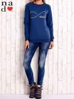 Ciemnoniebieska bluza z napisem SMILER                                  zdj.                                  2