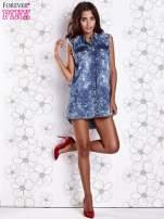 Ciemnoniebieska dekatyzowana sukienka jeansowa o kroju tuniki                                  zdj.                                  4