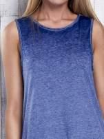 Ciemnoniebieska dekatyzowana sukienka maxi z dłuższym tyłem                                                                          zdj.                                                                         6