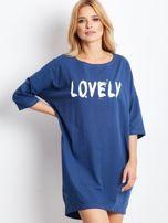 Ciemnoniebieska dresowa sukienka z aplikacją                                  zdj.                                  1