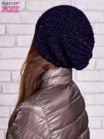 Ciemnoniebieska dziergana czapka z cekinami                                  zdj.                                  2
