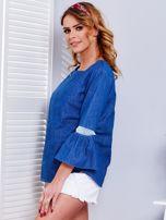Ciemnoniebieska jeansowa bluzka z szerokimi rękawami                                  zdj.                                  8
