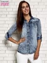 Ciemnoniebieska jeansowa koszula acid wash                                  zdj.                                  3