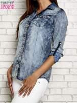 Ciemnoniebieska jeansowa koszula acid wash                                                                          zdj.                                                                         4