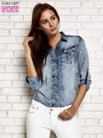 Ciemnoniebieska jeansowa koszula acid wash                                                                          zdj.                                                                         7