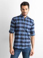 Ciemnoniebieska koszula męska slim fit w kratę                                  zdj.                                  1