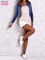 Ciemnoniebieska krótka kurtka jeansowa z przetarciami                                                                          zdj.                                                                         8